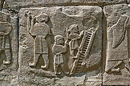 Pictures & Images Hittite relief sculpted orthostat panels of the Sphinx Gate. Panel depicts jugglers. Alaca Hoyuk (Alacahoyuk) Hittite archaeological site  Alaca, Çorum Province, Turkey, Also known as Alacahüyük, Aladja-Hoyuk, Euyuk, or Evuk .<br /> <br /> If you prefer to buy from our ALAMY PHOTO LIBRARY  Collection visit : https://www.alamy.com/portfolio/paul-williams-funkystock/alaca-hoyuk-hittite-site.html<br /> <br /> Visit our TURKEY PHOTO COLLECTIONS for more photos to download or buy as wall art prints https://funkystock.photoshelter.com/gallery-collection/3f-Pictures-of-Turkey-Turkey-Photos-Images-Fotos/C0000U.hJWkZxAbg