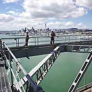 Participants on the Auckland Bridge Climb, Auckland Harbour Bridge, Auckland, New Zealand, 8th November 2010. Photo Tim Clayton.