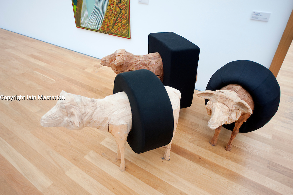 Modern art sculpture called Sheep with Floatation Devices by Ulf Puder on display at Museum Der Bildenden Kuenste, Leipzig Germany