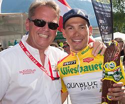07.07.2017, St. Johann Alpendorf, AUT, Ö-Tour, Österreich Radrundfahrt 2017, 5. Etappe von Kitzbühel nach St. Johann/Alpendorf (212,5 km), im Bild v.l.Franz Steinberger (Tourdirektor), Stefan Denifl (AUT, Team Aqua Blue Sport) im gelben Trikot // f.l. Franz Steinberger (Tourdirektor) and Stefan Denifl of Austria (Aqua Blue Sport) in the yellow jersey during the 5th stage from Kitzbuehel to St. Johann/Alpendorf (212,5 km) of 2017 Tour of Austria. St. Johann Alpendorf, Austria on 2017/07/07. EXPA Pictures © 2017, PhotoCredit: EXPA/ Reinhard Eisenbauer