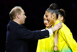 Australia's Enid Sung receives her bronze medal from Prince Edward for Rhythmic Gymnatics Individual All-Around Team at the Coomera Indoor Sports Centre during day seven of the 2018 Commonwealth Games in the Gold Coast, Australia.