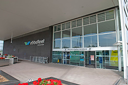©Licensed to London News Pictures 16/09/2020  <br /> Ebbsfleet, UK.  Ebbsfleet international main building. Ebbsfleet international Covid 19 testing site has closed suddenly in Ebbsfleet, Kent.<br /> The site will now be used for Boris Johnson's Government Brexit plan as HMRC require the site for EU exit. Its believed the site will be a lorry park for freight heading to Dover. Photo credit:Grant Falvey/LNP