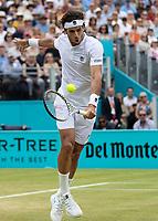 Tennis - 2019 Queen's Club Fever-Tree Championships - Day Seven, Sunday<br /> <br /> Men's Singles Final: Feliciano Lopez (ESP) Vs. Gilles Simon (FRA)<br /> <br /> Feliciano Lopez (ESP) in action on Centre Court.<br />  <br /> COLORSPORT/DANIEL BEARHAM