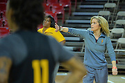 March 17, 2016: Arizona State Sun Devils head coach Charli Turner-Thorne directs her team during the first practice day of the 2016 NCAA Division I Women's Basketball Championship first round in Tempe, Ariz.