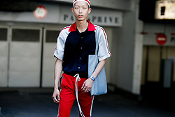 Street style, model Xu Meen after Acne Spring-Summer 2019 menswear show held at Bercy Popb, in Paris, France, on June 20th, 2018. Photo by Marie-Paola Bertrand-Hillion/ABACAPRESS.COM