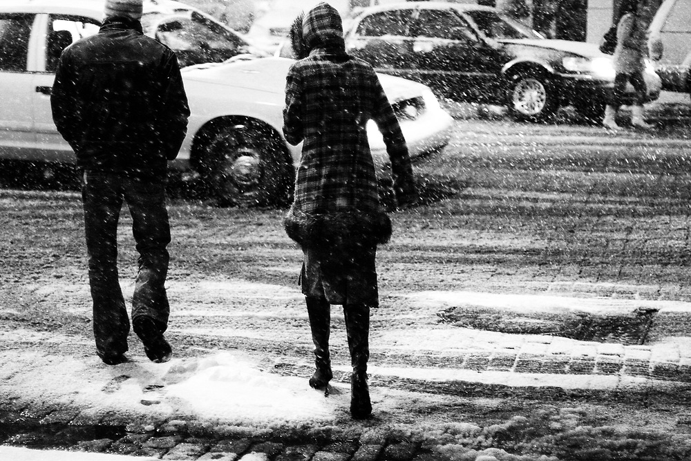 February 11th 2006. New York, New York..A record-breaking snow storm doesn't deter New Yorkers from going out in the Meatpacking district on a .Saturday night..