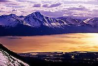 Turnagain Arm (seen from the top of Alyeska ski resort, Girdwood), near Anchorage, Alaska USA