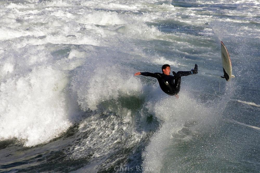 Surfer, wipeout, Santa Cruz, California