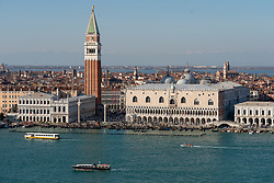 Views of St Mark's Campanile and the Doge's Palace taken from the bell tower of the Church of the Santissimo Redentore in Venice. From a series of travel photos in Italy. Photo date: Monday, February 11, 2019. Photo credit should read: Richard Gray/EMPICS