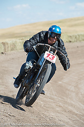 EBay Jake gets some air after hitting a bump on a 1919 Harley-Davidson racer in the Sons of Speed banked dirt oval racing at the Full Throttle Saloon during the annual Sturgis Black Hills Motorcycle Rally. Sturgis, SD. USA. Thursday August 10, 2017. Photography ©2017 Michael Lichter.