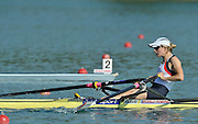 Banyoles, SPAIN, GBR LW1X, Laura GREENHALGH, at the start of her Repechage for the Light weight women's single sculls. FISA World Cup Rd 1. Lake Banyoles  Saturday, 30/05/2009   [Mandatory Credit. Peter Spurrier/Intersport Images]