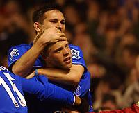 Fotball<br /> Premier League England 2004/2005<br /> Foto: BPI/Digitalsport<br /> NORWAY ONLY<br /> <br /> Arsenal v Chelsea<br /> FA Barclays Premiership, Highbury 12/12/04<br /> <br /> Chelsea's Frank Lampard and goal scorer Eidur Gudjohnson celebrate their sides second goal