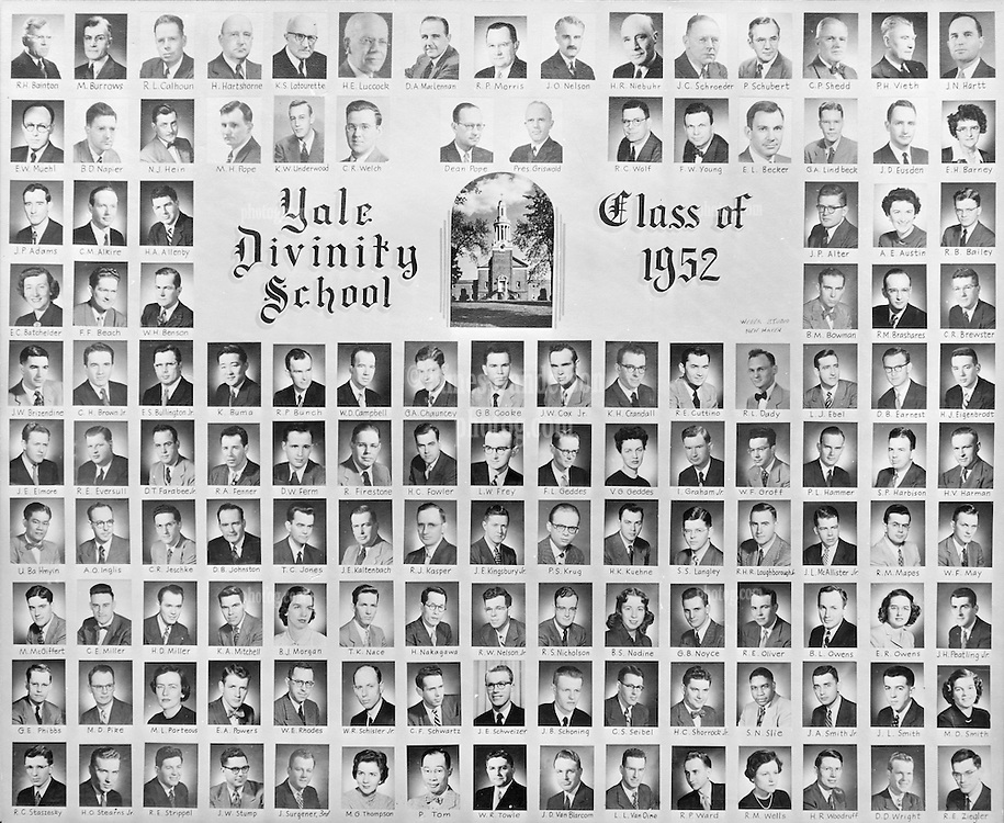 1952 Yale Divinity School Senior Portrait Class Group Photograph