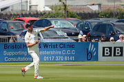 Matt Taylor throws the ball during the LV County Championship Div 2 match between Gloucestershire County Cricket Club and Lancashire County Cricket Club at the Bristol County Ground, Bristol, United Kingdom on 7 June 2015. Photo by Alan Franklin.