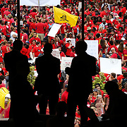RALEIGH NC - MAY 16,  2018: Teachers from across the state of North Carolina march and protest in the state capital on May, 16 2018. Tens of thousands of educators, school workers and parents of students marched from the NC Association of Educators building to the State Capitol building to protest wages and per-pupil spending, among other issues. North Carolina ranks 39th in teacher pay. Though wages have increased slightly, many educators still believe not enough is being done by the Republican controlled state legislature in reguards to education funding. CREDIT: LOGAN CYRUS FOR AFP