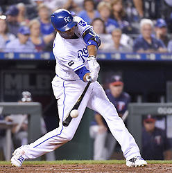 September 7, 2017 - Kansas City, MO, USA - The Kansas City Royals' Alcides Escobar connects on a double in the fifth inning against the Minnesota Twins at Kauffman Stadium in Kansas City, Mo., on Thursday, Sept. 7, 2017. (Credit Image: © John Sleezer/TNS via ZUMA Wire)