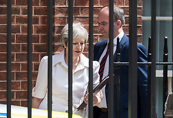© Licensed to London News Pictures. 17/07/2018. London, UK. Prime Minister Theresa May leaves Downing Street for Parliament with her Chief of Staff Gavin Barwell. Photo credit: Peter Macdiarmid/LNP