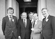 Image of Fianna Fáil leader Charles Haughey touring West Cork during his 1982 election campaign...04/02/1982.02/04/82.4th February 1982..Smiles in front:..A beaming Chalrles Haughey in the midst of Fianna Fáil  colleagues as he once again prepares to become leader of the nation....