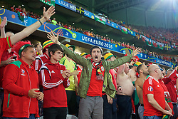 LILLE, FRANCE - Friday, July 1, 2016: Wales supporters celebrate the third goal to make the score 3-1 during the UEFA Euro 2016 Championship Quarter-Final match against Belgium at the Stade Pierre Mauroy. (Pic by Paul Greenwood/Propaganda)