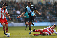 Lee Cox of Stevenage intercepts Rowan Liburd of Wycombe Wanderers. Skybet football league two match, Wycombe Wanderers  v Stevenage Town at Adams Park  in High Wycombe, Buckinghamshire on Saturday 12th March 2016.<br /> pic by John Patrick Fletcher, Andrew Orchard sports photography.