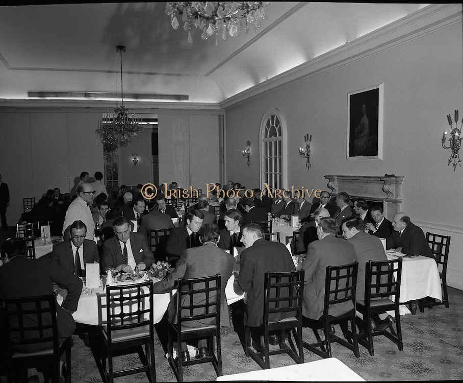 Hovis Family Bakery Competition..1971..23.02.1971..02.23.1971..23rd February 1971..At the Hibernian Hotel, Dublin, Ranks Ireland Ltd.,held the prize giving and celebration lunch for The Hovis Family Bakery Competition winners..An overview of the dining room in The Hibernian Hotel where Directors, Judges and Award Winners sat for lunch.