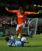 Blackpool's Gary Madine fouls Wycombe Wanderers' Jamie Mascoll<br /> <br /> Photographer Lee Parker/CameraSport<br /> <br /> The EFL Sky Bet League One - Wycombe Wanderers v Blackpool - Tuesday 28th January 2020 - Adams Park - Wycombe<br /> <br /> World Copyright © 2020 CameraSport. All rights reserved. 43 Linden Ave. Countesthorpe. Leicester. England. LE8 5PG - Tel: +44 (0) 116 277 4147 - admin@camerasport.com - www.camerasport.com