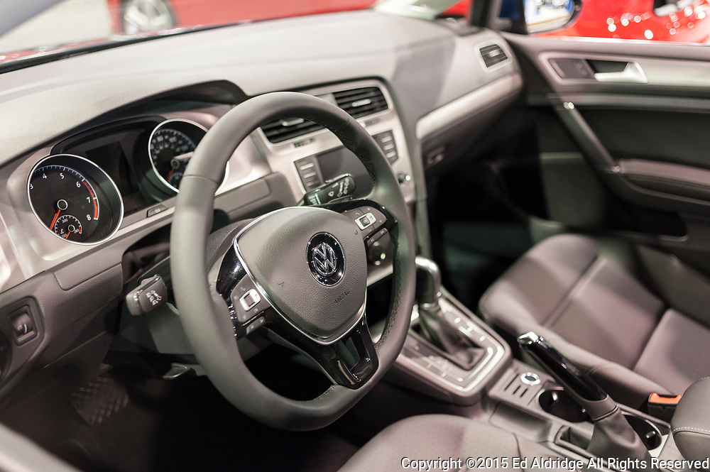 CHARLOTTE, NC, USA - November 11, 2015: Volkswagen Golf Sportwagen on display during the 2015 Charlotte International Auto Show at the Charlotte Convention Center in downtown Charlotte.
