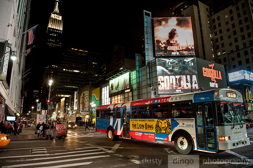 The Empire State Building, Godzilla, and Lion King. Manhattan, New York, USA