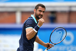 Croatia's Marin Cilic celebrates a point during his match against Luxembourg's Gilles Muller during day six of the 2017 AEGON Championships at The Queen's Club, London.