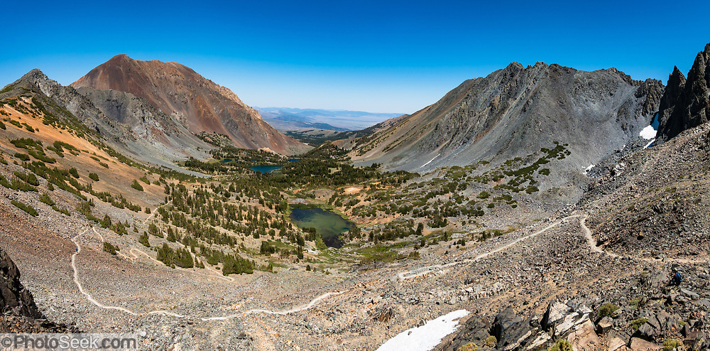 View Virginia Lakes from Burro Pass in Hoover Wilderness of Humboldt-Toiyabe National Forest, Eastern Sierra Nevada, Mono County, California, USA. Our backpacking trip from Green Creek Trailhead to Summit Lake was 7.6 miles with 2360 ft gain, 310 ft descent, over a leisurely 3 days, then out on the fourth day. From Summit Lake, we day hiked east to Burro Pass with a view to Virginia Lakes (2180 ft gain over 4 miles round trip). Multiple overlapping photos were stitched to make this panorama.