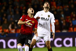 December 12, 2018 - Valencia, Spain - Andreas Pereira of Manchester United  (L) and Piccini of Valencia CF   during UEFA Champions League Group H between Valencia CF and Manchester United at Mestalla stadium  on December 12, 2018. (Photo by Jose Miguel Fernandez/NurPhoto) (Credit Image: © Jose Miguel Fernandez/NurPhoto via ZUMA Press)