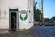 Mandeville Lakefront flooded by Lake Pontchartrain. WInds from tropical storm Harvey pushed the water up into the streets along the lakefront in Mandeville on Aug. 30, 2017