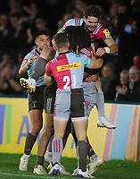 Rugby Union - 2017 / 2018 Aviva Premiership - Harlequins vs. Sale Sharks<br /> <br /> Harlequins players celebrate with try scorer, Marland Yarde at The Stoop.<br /> <br /> COLORSPORT/ANDREW COWIE