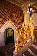 The entrance hall of Art Nouveau Museum of Applied Arts with Zolnay tiles & ceramic hand rails. Budapest Hungary .<br /> <br /> Visit our HUNGARY HISTORIC PLACES PHOTO COLLECTIONS for more photos to download or buy as wall art prints https://funkystock.photoshelter.com/gallery-collection/Pictures-Images-of-Hungary-Photos-of-Hungarian-Historic-Landmark-Sites/C0000Te8AnPgxjRg