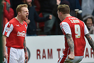 Chris Burke of Rotherham United celebrates with Rotherham United midfielder Danny Ward scoring to go1 all  during the Sky Bet Championship match between Rotherham United and Charlton Athletic at the New York Stadium, Rotherham, England on 30 January 2016. Photo by Ian Lyall.