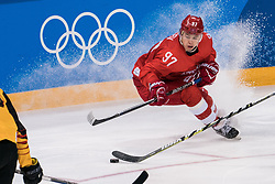PYEONGCHANG, Feb. 25, 2018  Nikita Gusev of Olympic athletes from Russia drives the puck during men's ice hockey final against Germany at Gangneung Hockey Centre, in Gangneung, South Korea, Feb. 25, 2018. The Olympic Athletes from Russia team defeated Germany 4:3 and won the gold medal. (Credit Image: © Wu Zhuang/Xinhua via ZUMA Wire)