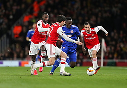 Mady Camara of Olympiacos cant find a way past the Arsenal defence - Mandatory by-line: Arron Gent/JMP - 27/02/2020 - FOOTBALL - Emirates Stadium - London, England - Arsenal v Olympiacos - UEFA Europa League Round of 32 second leg