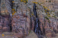 Small waterfall on Swiftcurrent Mountain in Glacier National Park, Montana, USA
