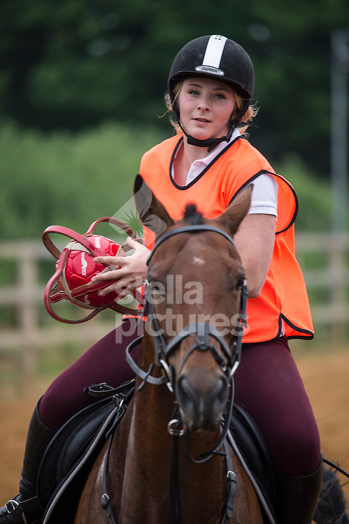 Abbie Gibson plays horseball at Arkley Lane Stables, Barnet.<br /> Picture by Daniel Hambury/Stella Pictures Ltd +44 7813 022858<br /> 04/06/2016