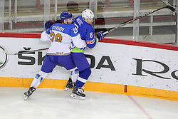 Valeri Orekhov of Kazakhstan vs Ales Music of Slovenia during Ice Hockey match between National Teams of Kazakhstan and Slovenia in Round #4 of 2018 IIHF Ice Hockey World Championship Division I Group A, on April 27, 2018 in Arena Laszla Pappa, Budapest, Hungary. Photo by David Balogh / Sportida