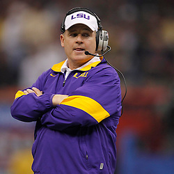 Jan 9, 2012; New Orleans, LA, USA; LSU Tigers head coach Les Miles during the first half of the 2012 BCS National Championship game against the Alabama Crimson Tide at the Mercedes-Benz Superdome.  Mandatory Credit: Derick E. Hingle-US PRESSWIRE