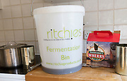 Plastic fermentation bin for home brew beer Woodforde's Wherry real ale kit, England, UK