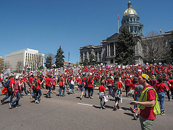 April 27, 2018 - Denver, Colorado, USA - Thousands of Colorado teachers from more that 30 districts gathered at the State Capitol in Denver for a second day of walkouts and rallies calling for better pay, more school funding and pension reform.  Colorado ranks 45th in the national for education funding. (Credit Image: © Michael Rieger via ZUMA Wire)