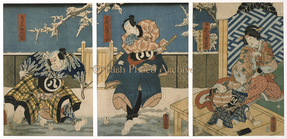 Scene from a Kabuki theatre performance. In this highly stylised Japanese dance-drama,  from 1629 all roles had to be played by men. Those who specialised in female roles were known as onnagata. Utagawa Kunisada (1786-1864) Japanese artist and printmaker. Coloured woodblock print, triptych.