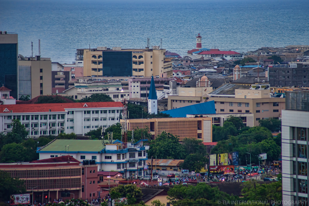 Downtown Accra & Jamestown Lighthouse (background)