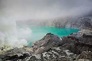 The sulphuric lake of Kawah Ijen Mountain's cauldron, Ijen Volcano, Banyuwangi Regency, East Java, Java, Indonesia, Southeast Asia