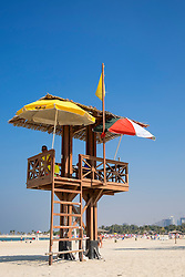Lifeguard tower at Al Mamzar Beach Park in Sharjah United Arab Emirates