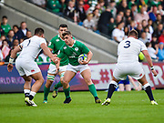 Ireland hooker Adam McBurney come p against England prop Lewis Boyce and prop Billy Walker during the World Rugby U20 Championship Final   match England U20 -V- Ireland U20 at The AJ Bell Stadium, Salford, Greater Manchester, England onSaturday, June 25, 2016. (Steve Flynn/Image of Sport)