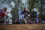 #41 (SUVOROVA Natalia) RUS, #50 (POTTIER Magalie) FRA and #21 (REYNOLDS Lauren) AUS at the 2014 UCI BMX Supercross World Cup in Santiago Del Estero, Argentina.