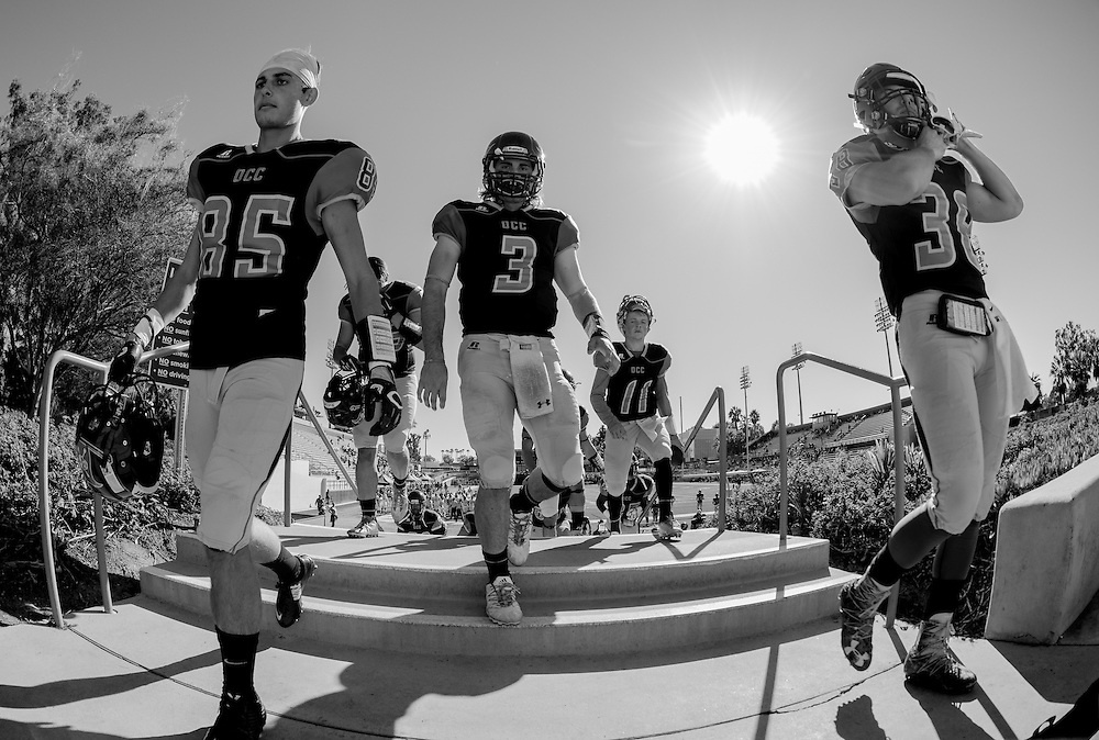 OCC heading in from the field at half time. Cal State Fullerton  Football vs. Orange Coast College College on Saturday, November 5, 2016 at LeBard Stadium in Costa Mesa, CA.  © photo by Annette Wilkerson/Sports Shooter Academy